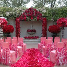 create a bold statement with cascading hot #pink #ruffles for ceremony seating!