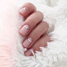 Pretty blush pink nude nails with a metallic silver accent stripe. Pretty pink and metallic nail art. Pretty blush pink nude nails with a metallic silver accent stripe. Pretty pink and metallic nail art. Metallic Nails, Glitter Nails, Fun Nails, Silver Glitter, Sparkle Nails, Glitter Art, White And Silver Nails, Blush Pink Nails, Nail Pink