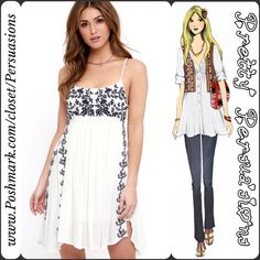 NWT Floral Embroidered White Boho Slip Dress Description coming soon. Available in sizes S, M, L & in both white or navy blue. Pretty Persuasions Dresses