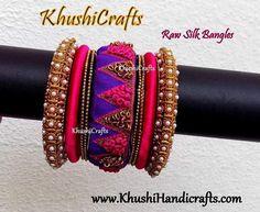 Designer Raw Silk / Cloth Bangles in Purple and pink with maggam / aari work
