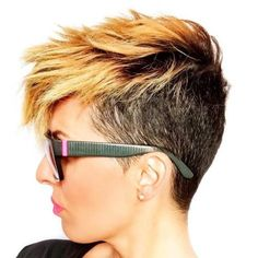 Black And Blonde Short Choppy Pixie