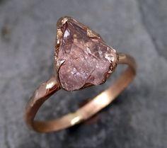 Raw Rough Champangne Pink Topaz 14k Rose gold Ring by byAngeline