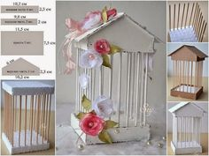 How to make decorative cage / Culinary UniverseWhat a lovely vintage thing!Discover recipes, home ideas, style inspiration and other ideas to try.Cardboard,bbq sticks, and sytrafome☆ home cherry ☾: Diy & Craft Kids Crafts, Diy And Crafts, Arts And Crafts, Paper Crafts, Diy Y Manualidades, Ideas Para Fiestas, Bird Cages, Diy Décoration, Diy Art