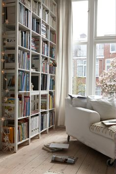 Furniture, : Good Looking White Living Room Decoration Using White Wood Bookcase Ikea Ivar Shelving Including White Velvet Living Room Lounge Chair And White Flower Window Decors