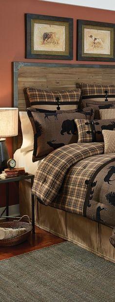Croscill Summit Bedding - Canadian Log Homes - Croscill Rustic Bedding - Cabin Homes, Log Homes, Rustic Cabin Decor, Rustic Farmhouse, Rustic Cabins, Lodge Style, Home Decor Bedroom, Bedroom Ideas, Bedroom Rustic
