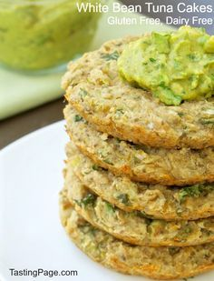 White Bean Tuna Cakes - white beans and tuna come together in this healthy, gluten free and dairy free patty | TastingPage