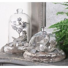 Beautiful Antique Looking Cloches with Birds