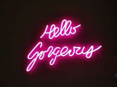 """Pink """"Hello Gorgeous"""" Neon LED Sign Neon-Like Art Sign Wall Decoration Bedroom Decor Neon Aesthetic - Modern Neon Light Signs, Led Neon Signs, Neon Quotes, Light Quotes, Neon Aesthetic, Neon Wallpaper, Custom Neon Signs, Neon Glow, Hello Gorgeous"""