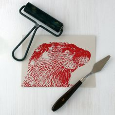 River Otter Greeting Card, Wildlife Card, Invitation, Thank You Card, Block Print Card, Birthday Card, Holiday Card - Ryer #ottercard #otter #riverotter #animalcard #blankcard