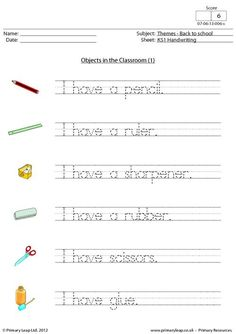 Back to school - Objects in the classroom Spelling And Handwriting, Handwriting Practice Worksheets, Cursive Writing Worksheets, 1st Grade Worksheets, Phonics Worksheets, Printable Worksheets, Free Worksheets, English Primary School, Learning English For Kids