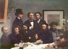 Verlaine (far left) and Rimbaud (second to left) depicted in an 1872 painting by Henri Fantin-Latour.