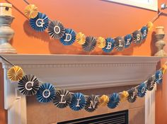 Paper Rosette Garland / Banner / Party Decor / Yellow / Grey / Blue