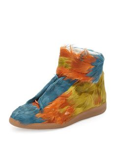 Future Duck Feather High-Top Sneaker, Multi by Maison Margiela at Neiman Marcus.