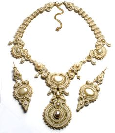 antique gold ivory and pearl- soutache wedding set necklace & earrings free shipping