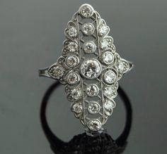 Antique Diamond RIng - Platinum with 21 European Cut Diamonds via Etsy