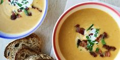 Best Butternut Squash Apple Soup with Bacon Recipe-How to Make Butternut Squash…
