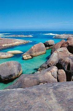 The Elephant Rocks near Denmark, Western Australia get their name from their resemblance to a herd of elephants bathing in the calm clear Southern Ocean waters of Elephant Cove. Perth Western Australia, Australia Travel, Holiday Destinations, Travel Destinations, Great Places, Places To See, Outback Australia, Flora Und Fauna, Road Trip