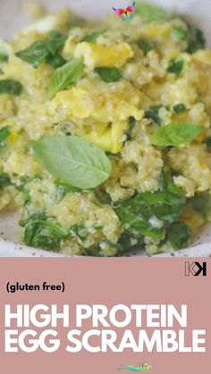 High Protein Egg Scramble (video) Make use of the quinoa in your pantry in this High Protein Healthy Egg Scramble with Quinoa. Say goodbye to boring scrambled eggs! Simple ingredients and such a satisfying breakfast. All you need are eggs, cooked quinoa, spinach and cheese to make this healthy and satisfying breakfast idea.<br> A delicious and nutritious high protein breakfast to kick start your day! High Protein Breakfast, Best Breakfast, Breakfast Ideas, Slow Cooker Chili, Spinach And Cheese, Quinoa Spinach, Cooked Quinoa, How To Cook Quinoa, Vegetarian Recipes