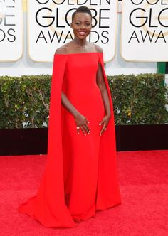 """Lupita Nyong'o deserves an award for this crimson beauty of a dress -- the """"12 Years a Slave"""" star looked like a red carpet goddess."""