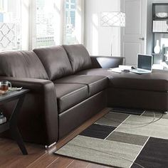 This brown leather sectional turns into a sleeper.It serves as a modern, yet classy piece for the urban home. Leather Sectional, Sectional Sofa, Couch, Formal Living Rooms, Sleeper Sofa, Online Furniture, My Dream Home, Family Room, Sweet Home