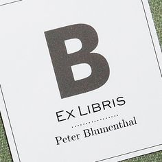 Modern Ex Libris Bookplate Single Initial, Set of 24