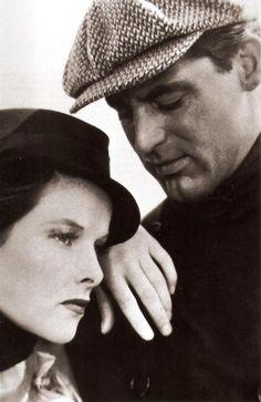 "Cary Grant and Katharine Hepburn in ""Sylvia Scarlett"", 1935."