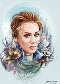 ElcinSangu Digital painting by vurdeM on DeviantArt Elcin Sangu, Celebrity Portraits, Turkish Actors, Art Sketches, Digital Art, Digital Paintings, Princess Zelda, Deviantart, Watercolor