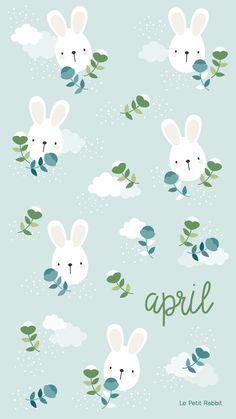 Rabbit illustration by Le Petit Rabbit Wallpaper Kawaii, Frühling Wallpaper, Easter Wallpaper, Holiday Wallpaper, Calendar Wallpaper, Wallpaper Iphone Cute, Cellphone Wallpaper, Cute Wallpapers, Wallpaper Backgrounds