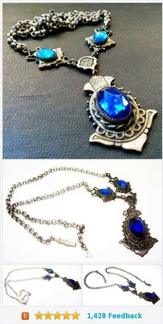 """Art Nouveau Pendant Necklace Sapphire Blue Rhinestones Sterling Silver Rolo Curb Chain 20"""" Vintage https://www.etsy.com/BrightgemsTreasures/listing/559071329/art-nouveau-pendant-necklace-sapphire?ref=shop_home_active_13"""