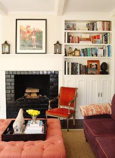 sadie stella: Building it in Love the black fireplace brick!