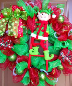 Elf Christmas Wreath, maybe with family name initial instead?
