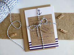Nautical Wedding Invitations with kraft card, navy stripes, anchor detail and blue and white twine ~ perfect for weddings by the sea, on the beach or