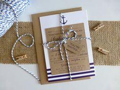 Bundle nautique de faire-part de mariage, mariage bord de mer - mariage rustique - fait main