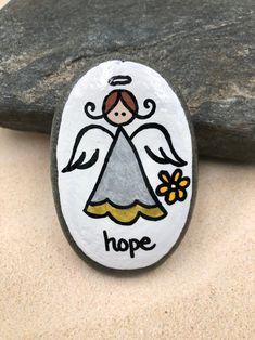 Faith Hope Love Angels Set of Guardian Angel Pocket Rocks, Comfort Stones, Worry Stone, First Communion Gift, Sunday School gift — Alleluia Rocks Rock Painting Patterns, Rock Painting Ideas Easy, Rock Painting Designs, Paint Designs, Pebble Painting, Pebble Art, Stone Painting, Painted Rocks Craft, Hand Painted Rocks
