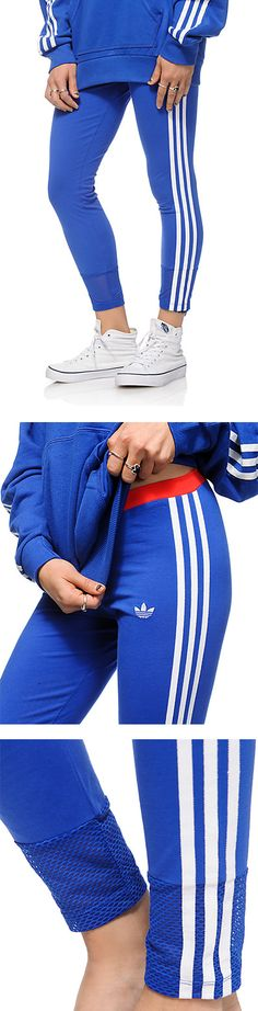 Tight fit blue leggings that feature a contrast red elastic waistband and white adidas logo and 3-stripe detailing throughout | adidas