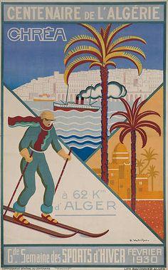 Centenaire de L'Algerie ALGERIAN Vintage Ski Poster - 1930
