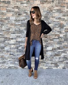 IG: @mrscasual | Leopard cami, black cardigan, distressed jeans, booties, & Louis Vuitton tote