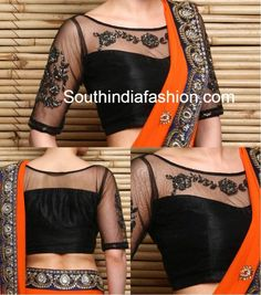 Black Net Embroidered Blouse, net blouse front and back neck, net blouse designs for sarees, netted blouse, boat neck blouse Traditional Blouse Designs, Black Blouse Designs, Blouse Designs High Neck, Netted Blouse Designs, Simple Blouse Designs, Saree Blouse Designs, Gharara Designs, Choli Designs, Blouse Designs Catalogue