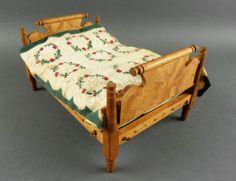 Vintage Dollhouse Miniature Rope Bed Ornate w Quilt and Mattress | eBay