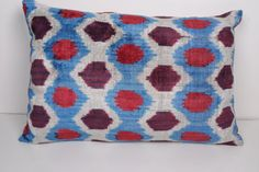 Designer Throw Pillows For Sofa Silk Velvet Ikat by omerfarukaksoy