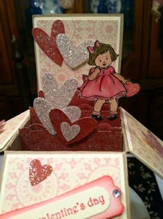 image - Pamela M. Card In A Box, Pop Up Box Cards, Card Boxes, Paper Boxes, Send A Card, 3d Paper Projects, 3d Paper Crafts, Love Valentines, Valentine Day Cards