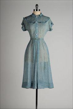 vintage 1940s dress . sheer blue chiffon