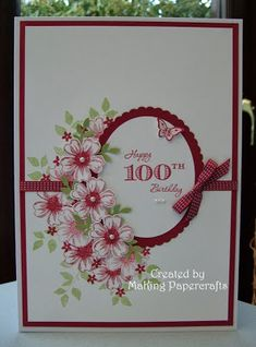 This is a commissioned card which I have been asked to make for a lady who is celebrating her 100th birthday and it needed to be 'overs...