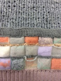 Detail shot of hand knitted and machine knitted textiles by Eileen Braybrook for 'Course Correction' collaboration 2015.