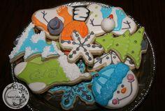 custom christmas snowflake, snowman, stocking sugar cookies