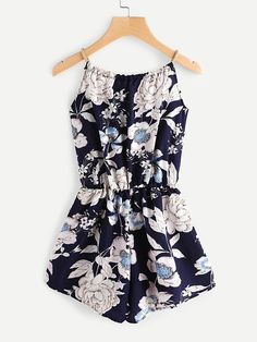 Material: Polyester Color: Multi Pattern Type: Floral Neckline: Strap Sleeve Length: Sleeveless Style: Vacation, Elegant Fabric: Fabric has no stretch Season: Summer Bust(Cm): 90cm Waist Size(Cm): 60-92cm Hip Size(Cm): 102cm Thigh(Cm): 58cm Length(Cm): 75cm Size Available: one-size