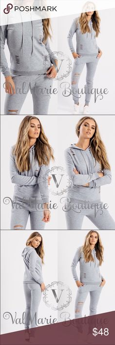 💠LAST 1- Distressed Sweatsuit set Unbelievably comfortable!!! Mega soft, not too heavy and absolutely soooo comfy and on trend. Only have size 10 left in women's sizing not juniors. Runs fitted in top and relaxed in pants. If you want a more relaxed fit then size up. Please ask any questions before ordering. 95% cotton, 5% spandex. Also have in black. From Italy so tag will say size 14 but it's really a size US10. ValMarie Pants