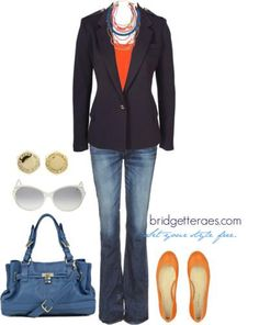 Blazer and Jeans...maybe with pink or yellow... lime green <3 ?!!