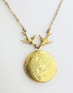 Bird Locket Necklace Golden...maybe a little less yellow