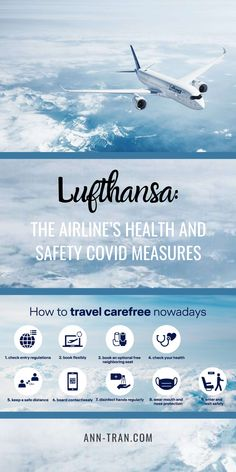 How do I stay safe while traveling this fall season? Travel with an airline whose elevated health and safety measures are reopening the skies for flying. Check out Lufthansa Airlines, as well as entry regulations, hygiene measures, and other country-specific updates. #Lufthansaairlineshealthandsafety #safetravelmeasures #traveltips #travelblog #travelessentials #falltravel #healthytravel #anntran